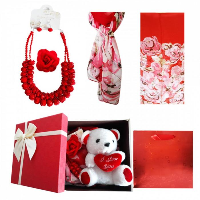 Pachet  cadou Valentine s Day set bijuterii, urs de plus, brosa si esarfa