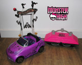 Lot 3 accesorii mari Monster High (masina, hinta, sicriu)