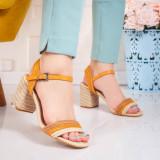 Sandale cu toc dama bej cu maro Trigisa
