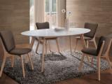 Cumpara ieftin Set masa din MDF si lemn Montana White / Oak + 4 scaune Montana Khaki, L160xl90xH75 cm