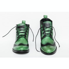 Ghete barbati Francesco Ricotti pictate manual,culoare verde, marimea 42