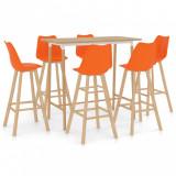 Set mobilier de bar, 7 piese, portocaliu, vidaXL