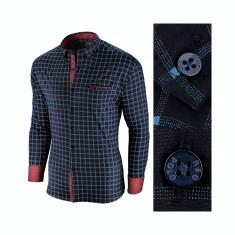 Camasa pentru barbati, in carouri, bleumarin, premium, slim fit, casual - Red Polo, XXL, Maneca lunga
