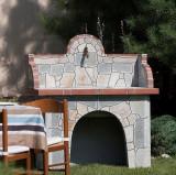 Masa gratar + chiuveta - Placata cu piatra poligonala