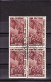 1950  LP 271  LUNA  PRIETENIEI ROMANO-SOVIETICE  BLOC DE 4 STAMPILA PRIMA ZI