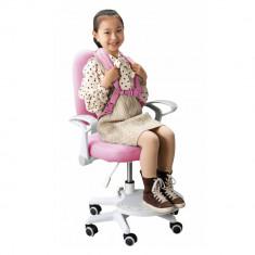 Scaun reglabil cu suport pentru picioare si curele, roz alb, ANAIS