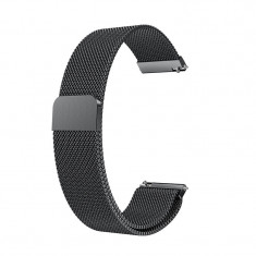 Curea Milanese Slim Fit compatibila Huawei Watch GT, Telescoape QR, 22mm, Negru