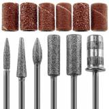 Capete Metalice Freza, Set 12 Bucati, 6 Capete si 6 Role Abrazive, Cod CF02