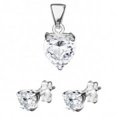 Set din argint - cercei şi pandantiv în formă de inimă, zirconiu