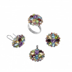 Set cercei, inel si pandantiv din argint cu pietre semipretioase, model floare