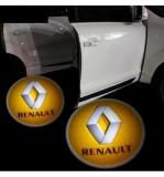 Set 2 Bucati Emblema Logo LED Portiera dedicata Marca Auto RENAULT