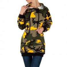 Hanorac lung, de culoare galbena, cu imprimeu de camuflaj, L, M, Galben