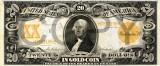 20 dolari 1906 Reproducere Bancnota USD , Dimensiune reala 1:1