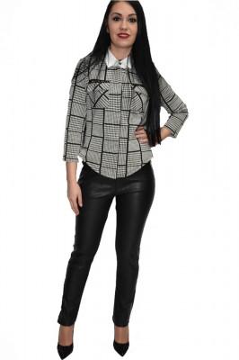 Pantalon tineresc cu reflectii si insertii de piele,nuanta neagra foto