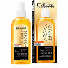 Ulei de par, Eveline Cosmetics, 8 in 1 Argan + Keratina, Elixir of Gold, 150 ml