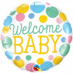 Balon Baby Shower Botez Welcome Baby folie metalizata 43cm