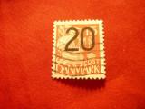 Timbru Danemarca 1940 Uzuale , supratipar 20 ore pe 15 ore ,stampilat