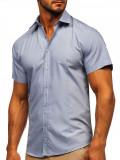 Cumpara ieftin Cămașă albastră mâneca scurtă bărbați Bolf 17501