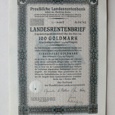 Titlu De Stat Obligatiune Germania 1928-100-Goldmark