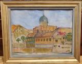 Veche pictura - ulei pe carton - Sinagoga Sion Oradea
