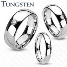 Inel argintiu din tungsten, zirconiu transparent încorporat - Grosime: 4 mm, Marime inel: 52