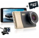 Cumpara ieftin Camera auto Dubla DVR iUni Dash 401, Full HD, 4 Inch, 170 grade + Card 16GB Cadou