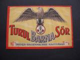 Eticheta de Bere Turul Barna Sor, Dreher Haggenmacher Nagyvarad (Oradea)