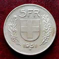 ELVETIA - 5 Franci 1951 B ( Francs - Franken ) Argint