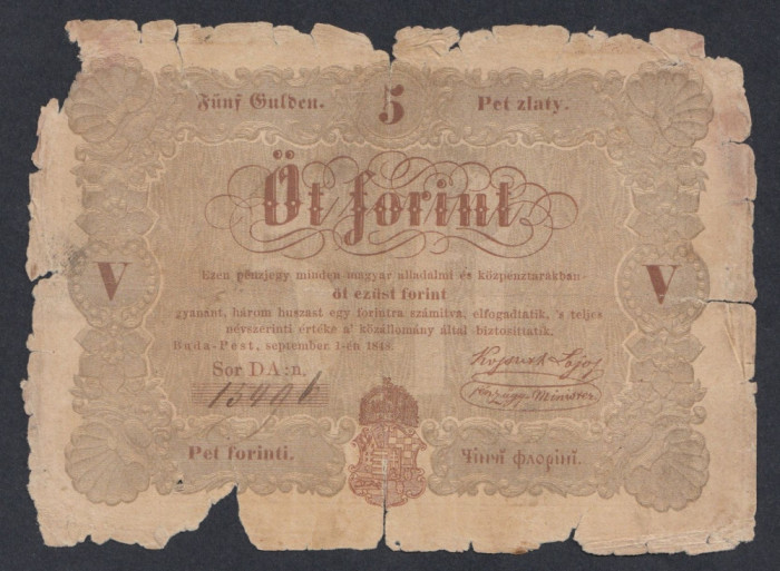 A6002 Hungary Ungaria 5 forint 1848