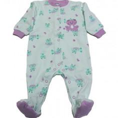 Salopeta / Pijama bebe intreaga cu broscute Z06, 1-2 ani, 1-3 luni, 12-18 luni, 9-12 luni, Alb