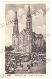 4528 - VINGA, Arad, market, Chatolic Church, Romania - old postcard - used 1930, Circulata, Printata