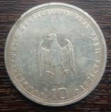 (A52) MONEDA DIN ARGINT GERMANIA - 10 MARK 1989, LIT. J, 800 ANI ORASUL HAMBURG, Europa