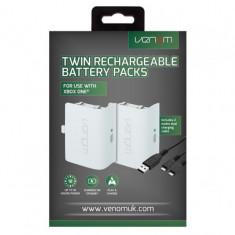 Set 2 acumulatoare pentru Xbox One, alb + 2 m cablu incarcare