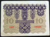 Bancnota ISTORICA 10 COROANE - AUSTRO-UNGARIA (AUSTRIA), anul 1922   *cod 620 C