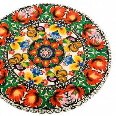 Platou rotativ din lemn cu motiv traditional, platou servire, Diametru 30 cm