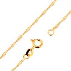 Lanț realizat din aur galben 9K - zale lucioase ovale plate, spirală, 500 mm