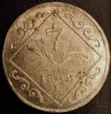 Austria Ungaria Transilvania 7 Kreuzer argint 1802 E Alba Iulia,a.UNC luciu RARA