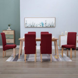 Cumpara ieftin Scaune de sufragerie, 6 buc., roșu, material textil