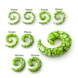 Expander pentru ureche - plug verde deschis în formă de melc, efect de crăpături negre - Lățime: 6 mm
