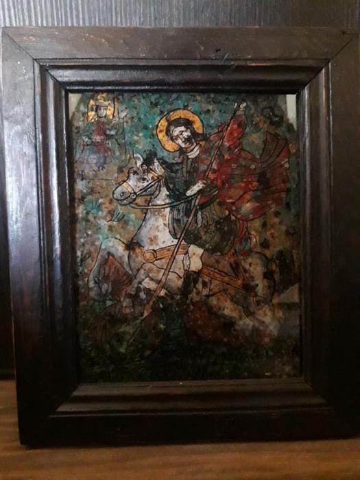 Icoana Sfantul Gheorghe omorand balaurul pictata pe sticla