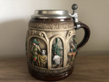 Halba rustica germana Gerz,ceramica pictata,capac metalic