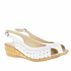 Sandale dama din piele naturala, cu platforma - SMALTAALB