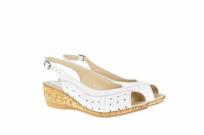 Sandale dama din piele naturala, cu platforma - SMALTAALB foto