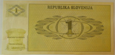 Bancnota 1 TOLAR (Tolarjev) - SLOVENIA, anul 1990 *cod 439 foto