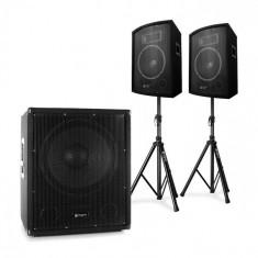 """Electronic-Star 2.1 Active PA, DJ Set cu subwoofer Bi-Amp, pereche de boxe de 10 """" și trepied"""