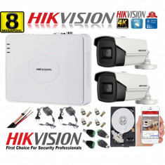 Kit supraveghere ultraprofesional Hikvision 2 camere 8MP 4K, 80 IR, DVR 4 canale, accesorii incluse si HDD SafetyGuard Surveillance
