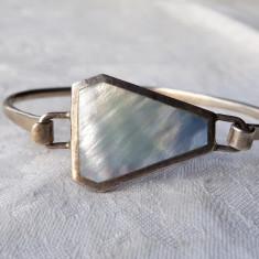 BRATARA argint cu SCOICA ABALONE delicata SPLENDIDA de efect ELEGANTA superba