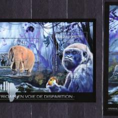 DB Fauna in pericol Africa Guinea Elefanti  MS + SS MNH