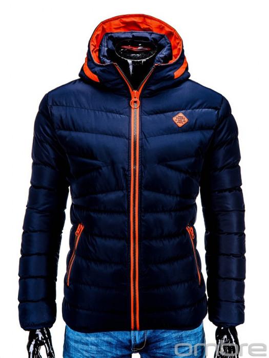 Geaca pentru barbati, bleumarin, ideal ski, de iarna cu gluga si fermoar, model slim - c363