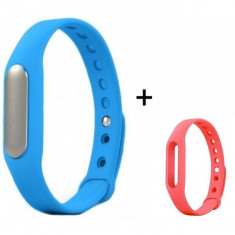 Bratara fitness iUni Mi1 Albastru + Curea de schimb Roz